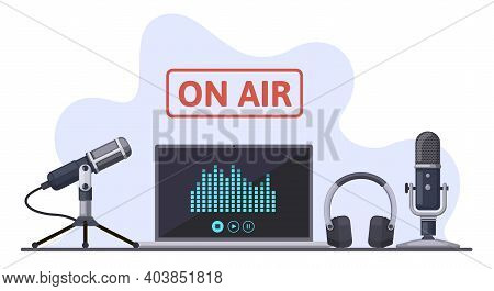 On Air. Podcast, Radio Broadcast, Or Audio Streams, Sound Recording With Microphone And Headphones.