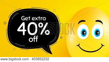 Get Extra 40 Percent Off Sale. Easter Egg With Smile Face. Discount Offer Price Sign. Special Offer