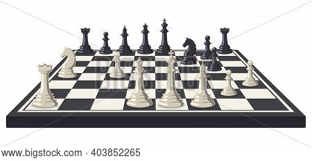 Chess Board. Logical, Intellectual Game Chessboard, Chess Game Black And White Pieces. Chess Tournam