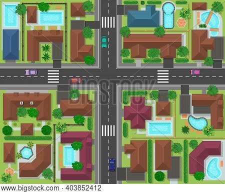 City Block Top View. Town Street Panorama With Houses, Gardens, Trees And Roads, City Landscape Infr
