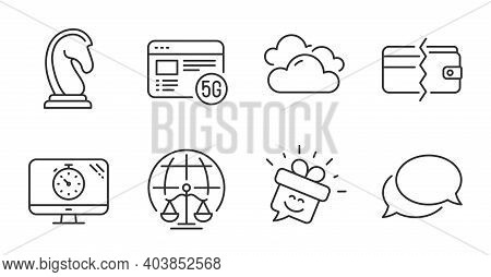 Magistrates Court, Marketing Strategy And Smile Line Icons Set. Messenger, 5g Internet And Seo Timer