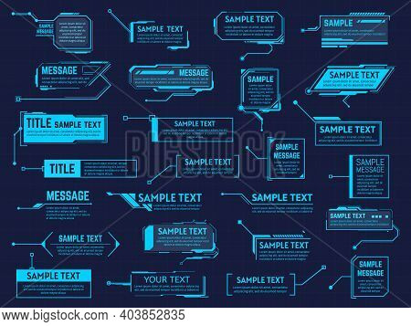 Futuristic Callouts Titles. Info Boxes, Digital Information Bar Labels, Modern Description Banner. C