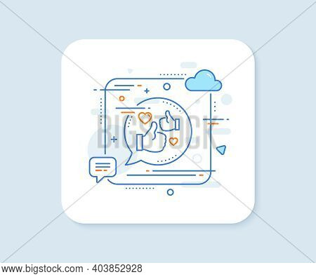 Like Line Icon. Abstract Square Vector Button. Thumbs Up With Heart Sign. Positive Feedback, Social