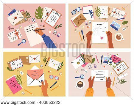 Hands With Postcards And Letters. Envelopes, Postcards And Letters Top View, Girls Write, Send And R