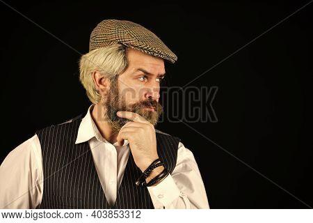 Real Masculinity. Retro Gentlemen. Mature Handsome Man. Masculine Appearance. Bearded Guy On Black B