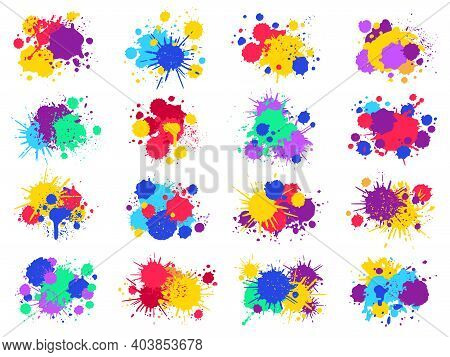 Color Paint Splashes. Abstract Bright Ink Blots And Splashes, Painted Liquid Drops And Splatters. Co