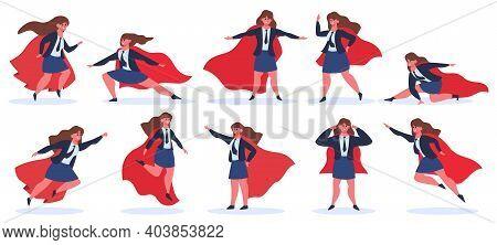 Businesswoman Superhero. Female Superhero Character In Superhero Action Poses In Red Cloak. Super He