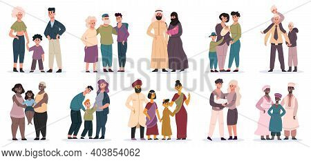 Happy Families. Large Families Together, Mom, Dad And Children, Smiling Mother, Father And Kids Vect