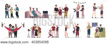 Family Activities. Mother, Father And Children Playing, Cooking And Decorate House Together Vector I