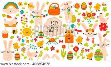 Cute Easter Elements. Spring Easter Cute Decoration, Eggs, Chickens, Flowers And Rabbits. Easter Hol