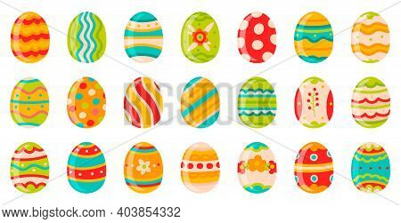 Easter Eggs. Cute Spring Decorative Chocolate Eggs, Happy Easter Doodle Ornamental Symbols. Easter H