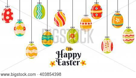 Easter Hanging Eggs. Cartoon Spring Decorations, Cute Hanging Easter Decorative Eggs Vector Backgrou