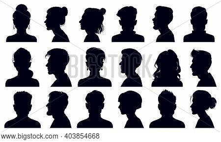 Head Silhouettes. Female And Male Faces Portraits, Anonymous Person Head Silhouette Vector Illustrat