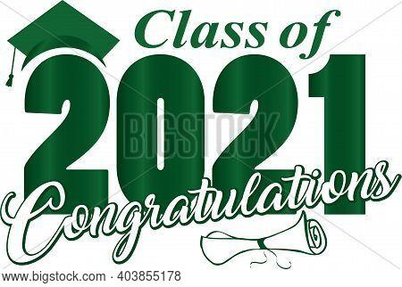 Green Class Of 2021 Congratulations Graduation Banner Design