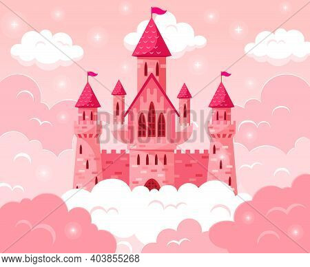 Cartoon Fairy Tale Pink Castle. Magic Fairytale Medieval Tower, Princess Castle In Pink Clouds Vecto