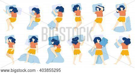 Sleeping Woman. Girl Sleep Position, Female Character Healthy Night Sleep, Woman Sleeping In Bed Alo