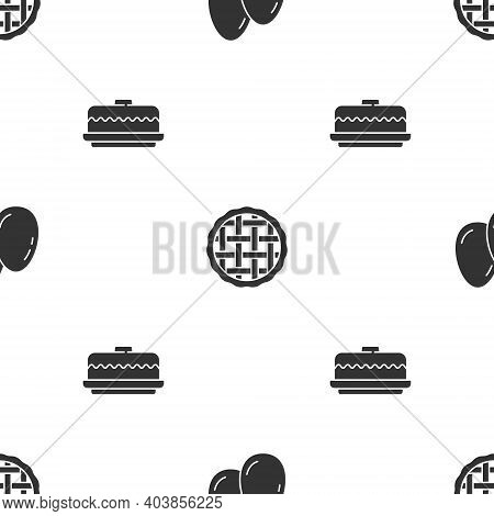 Set Easter Eggs, Homemade Pie And Cake On Seamless Pattern. Vector