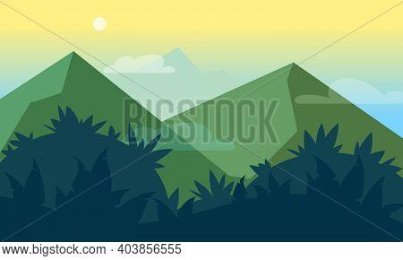 Mountains, Jungles Scenic Landscape Flat Style Illustration. Futuristic Gradient Verdurous Hills, Mo