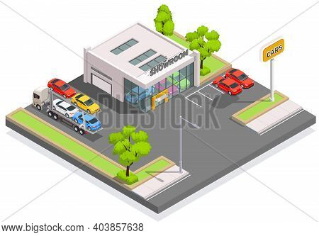 Car Ownership Usage Isometric Composition With View Of Automobile Showroom Building With Parking Lot