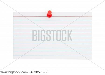 Retro White Paper Index Card With Pushpin Isolated On White With Copy Space For Your Message