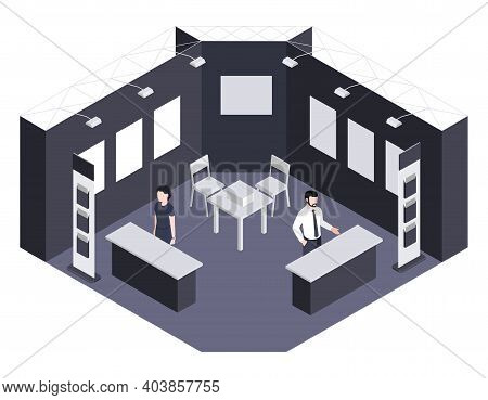Expo Center Isometric Background Illustrated Exhibition Section With Consultants Waiting For Visitor