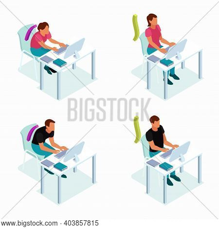 Correct Sitting Position Concept 4 Isometric Compositions With Good And Wrong Posture At Your Comput