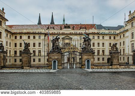 Empty And Closed Prague Castle, Czech Republic, During Covid-19 Pandemic Lockdown In January 2021.ma