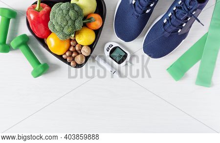 Healthy Eating And Sport Plan For Diabetes Patients Top View On White Wooden Table. Diabetes Concept