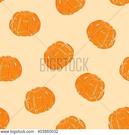 Orange Mandarin Peeled Completely On Pastel Background. Seamless Pattern. Hand Drawing. Vector Illus