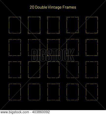 Set Of 20 Elegant Retro Vintage Ornate Frames, Corner Flourishes, Collection Of Unique Rectangle Vig