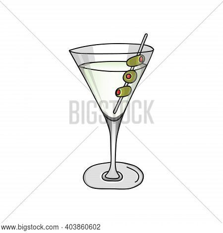 Glass Of Dry Martini Cocktail And Olives On A White Background. Hand Drawing Alcohol Cocktail. Vecto