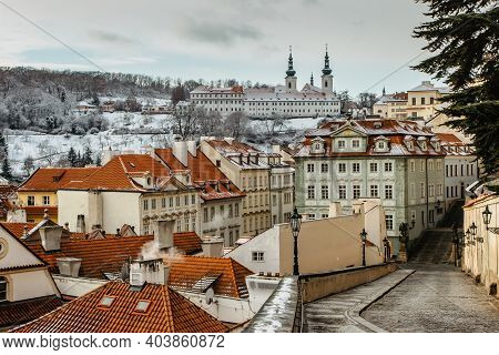 Panoramic View Of Prague From The Prague Castle On Cold Day, Czech Republic.prague Winter Panorama.s