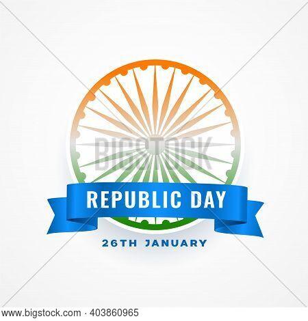 Republic Day Of India Wishes Card With Ashoka Chakra