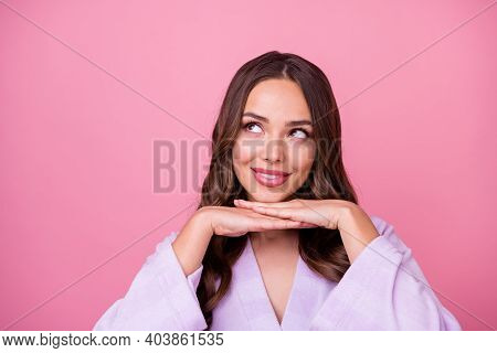 Closeup Photo Of Beautiful Charming Lady Long Curly Hairstyle Spa Procedure Arms Under Chin Perfect