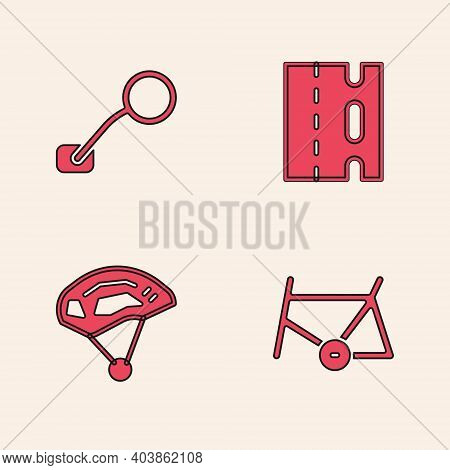 Set Bicycle Frame, Rear View Mirror, Lane And Helmet Icon. Vector