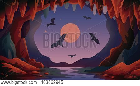 Cave With Bats. Night Panoramic Vector Landscape With Flying Bats And Moon. Vector Illustration In F