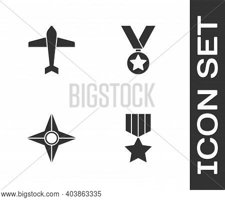 Set Military Reward Medal, Jet Fighter, Japanese Ninja Shuriken And Icon. Vector
