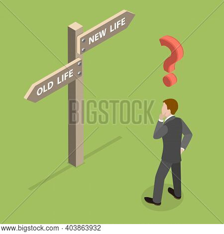 3d Isometric Flat Vector Conceptual Illustration Of Choosing A Right Life Path.