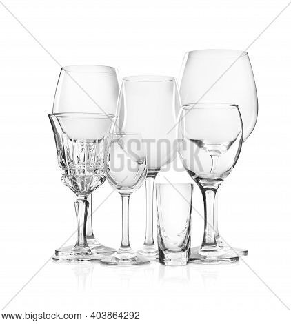 Set Of New Bar Glassware On White Background