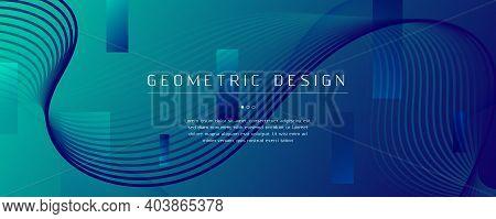 Blue Dynamic Wave. Fluid 3d Layout. Color Geometric Line. Dynamic Wave. Graphic Banner. Flow Design.