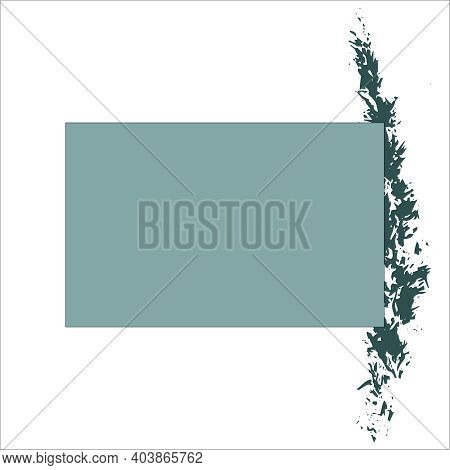 Abstract Blue-green Rectangle Background For Text With Abstract Spike Prints On The Side. Vector. Qu