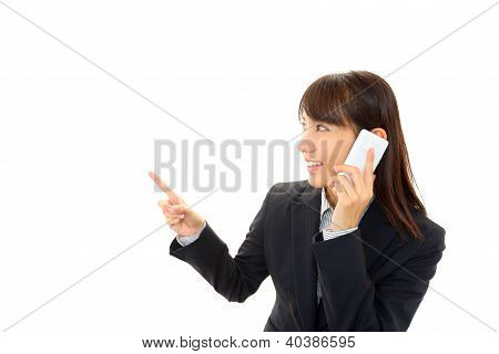Smartphone and woman.