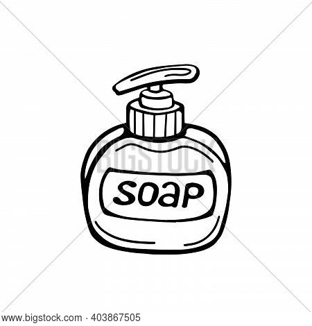 Hand-drawn Soap Bottle Isolated On A White Background. Vector Illustration In The Doodle Style. Natu