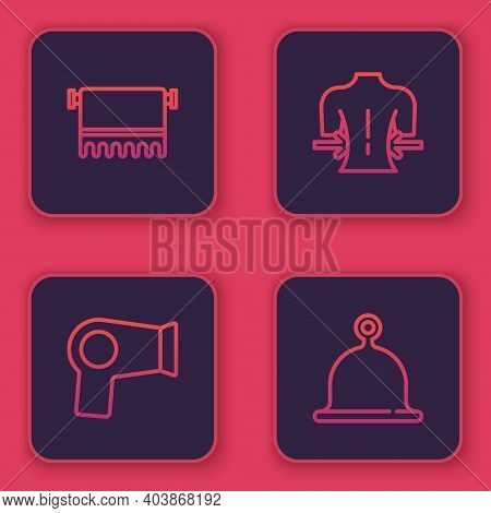 Set Line Towel On Hanger, Hair Dryer, Massage And Sauna Hat. Blue Square Button. Vector