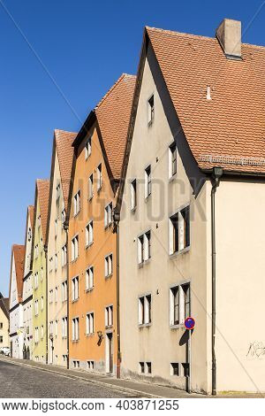 House Facades In Rothenburg Ob Der Tauber, Bavaria, Germany