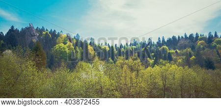 A Panoramic View Of The Ancient Rocks In The National Natural Park Skole Beskydy