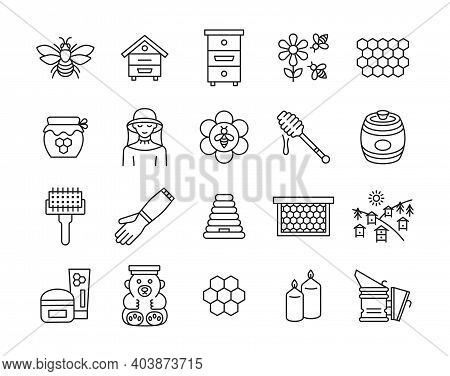 Beekeeping Line Icon Set. Collection Sign With Bee, Hive, Honey, Beekeeper,equipment, Apiary. Editab