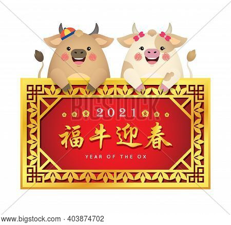 2021 Chinese New Year - Year Of The Ox Greeting Template. Cute Cartoon Cows Holding Golden Vintage F