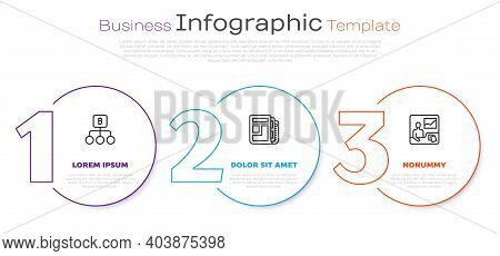 Set Line Blockchain Technology Bitcoin, Stock Market News And Trading Courses. Business Infographic