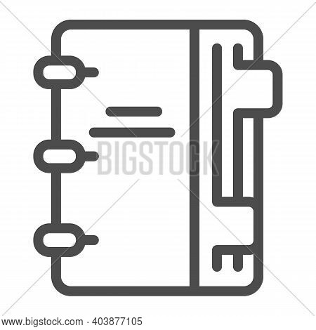 Notepad With Notes Line Icon, Education Concept, Notebook With Notes Sign On White Background, Notep